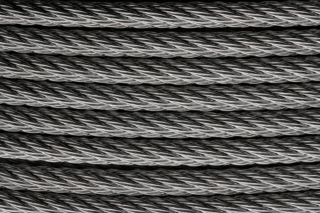 solid wire: hard steel wire or cable closeup