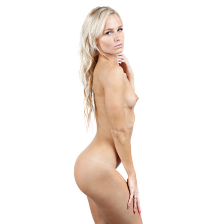 naked woman  white background: very beautiful and sexy nude or naked woman on a white background