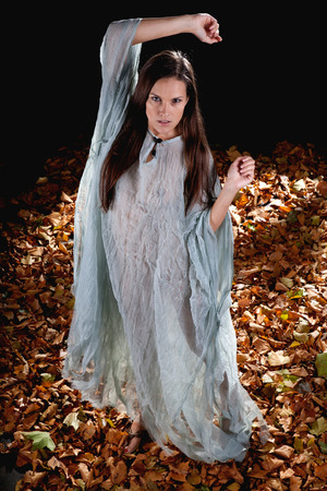 very sexy woman as witch dressed up in hallloween gothic style with a shine through dress photo