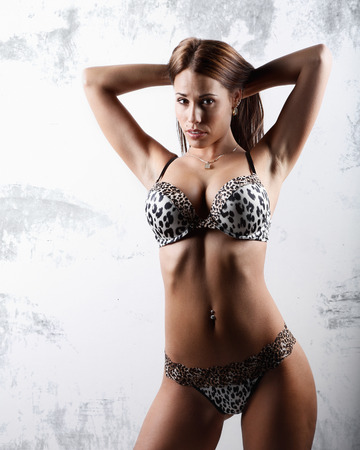 very beautiful and sexy woman in tiger print lingerie photo
