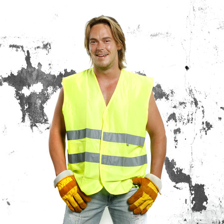 construction work: beautiful man in safety constuction working outfit Stock Photo