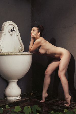 sexy nude women: Very beautiful nude woman posing with an old sink and image in a vintage look with scratches finish