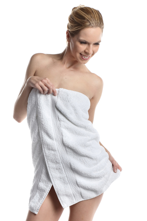 Very beautiful woman wrapped in a towel. Spa wellness look Stock Photo