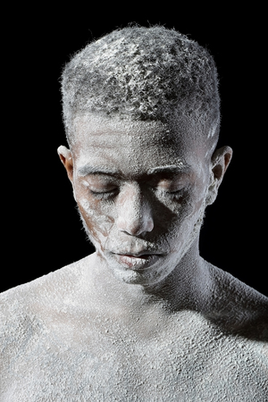 Man covered with dust