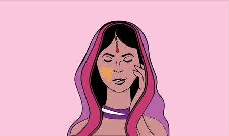 Illustration of Indian women dressed in traditional clothes