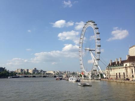 eye: London eye on river Thames Stock Photo