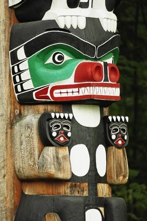 Chief Wakas totem pole. Stanley Park in Vancouver is home to six totem poles located at Brockton Point. Totem poles are monumental sculptures carved by indigenous cultures along the Pacific northwest coast of North America. The word totem is derived from  photo