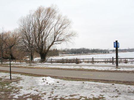 Desolate, winter scene of local lake. Banco de Imagens