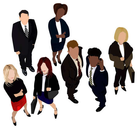 A group of vector business partners smartly dressed (each person is on a different layer).