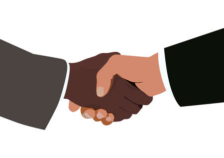 A handshake between two different races. Stock Vector - 2670043