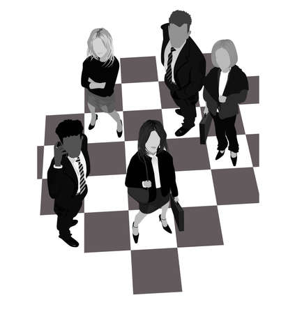 A Chess board of Business people. Vector
