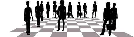 Business women on a chessboard.