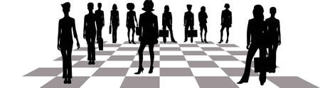 price gain: Business women on a chessboard.