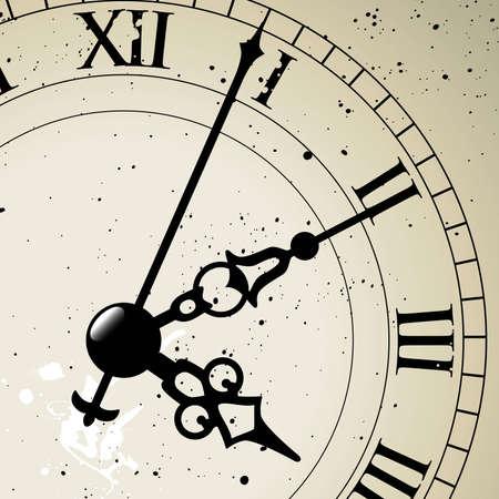 Een antieke klok geconfronteerd met het hele gezicht is beschikbaar slechts verborgen achter een masker. Vector Illustratie