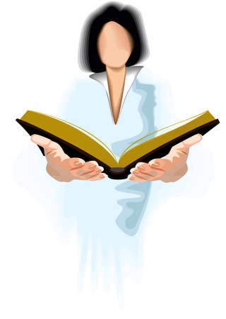 A woman reading a large book. Stock Vector - 3254655