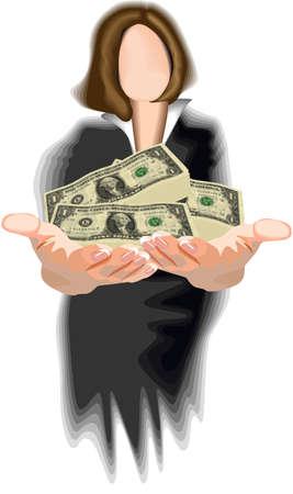 affluence: Una mujer con un mont�n de dinero