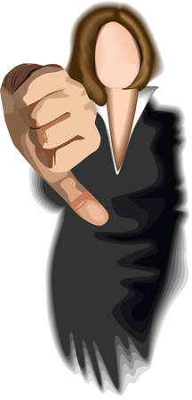 disapproval: A vector thumb showing approval.