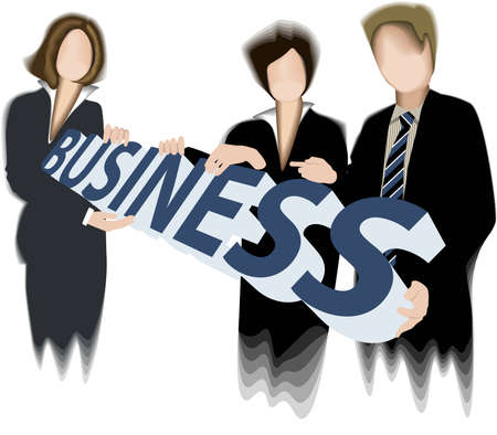 workteam: Business team holding 3d word. Illustration