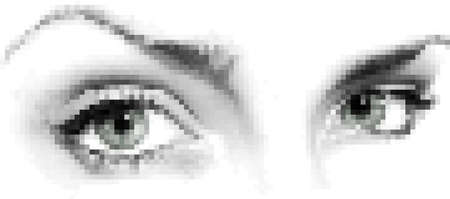 rasterized: Eyes made of a mosaic pattern. Illustration