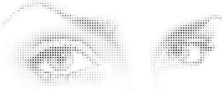 halftone: Eyes made of a mosaic patternof stars.