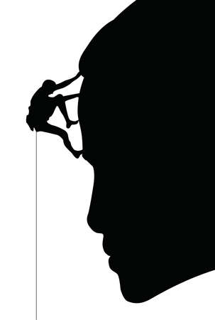 A silhouetted climber on a mountainous rock face. Illustration