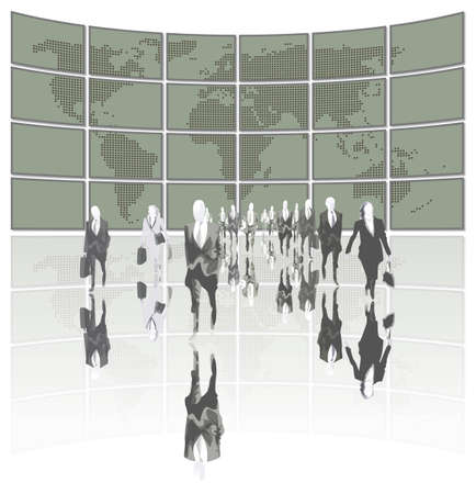 workteam: business people leading the world Illustration