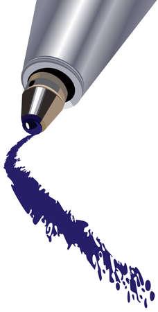 ballpoint: a ballpoint pen drawing a line