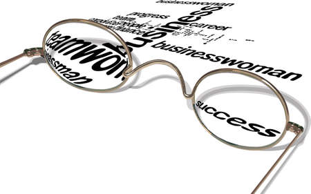 business keywords seen through a pair of glasses Vector