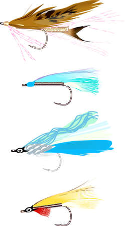 fishing hook: pesca mosche Vettoriali