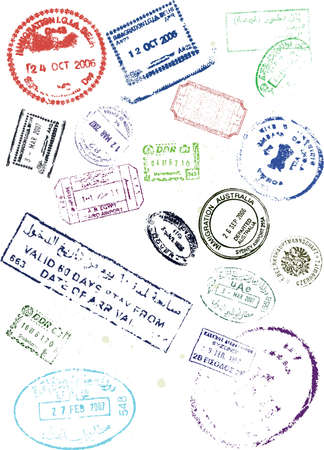 stamps visa travel passport vector Vector