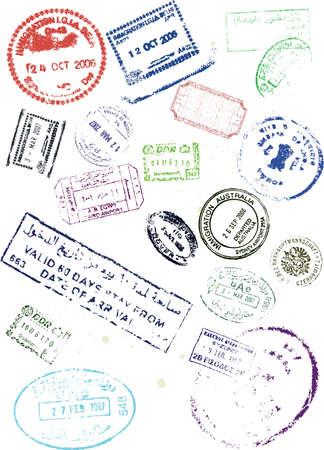 stamps visa travel passport vector Stock Vector - 4153925