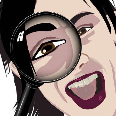 examine: magnify eye look examine stare lens
