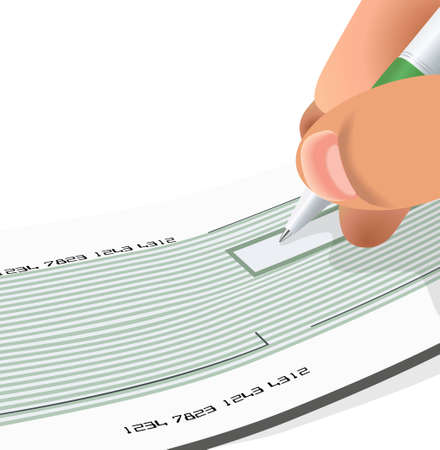 check cheque pay sign money Illustration