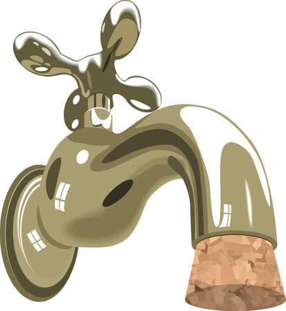 conservacion del agua: grifo de agua del grifo fregadero fontaner�a corcho
