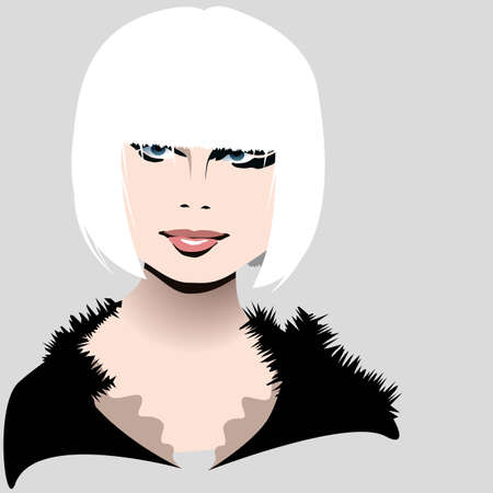 white hair blond beauty Vector