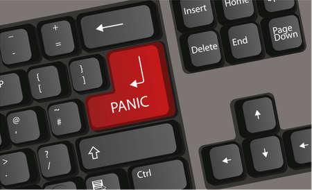 paniek: toetsenbord drukt Panic Button computer vector