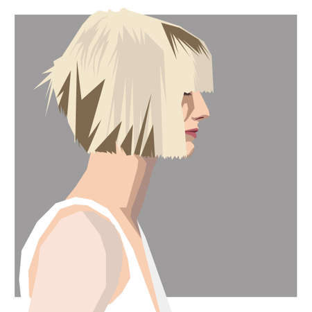 bob: blond girl with bob hairstyle Illustration
