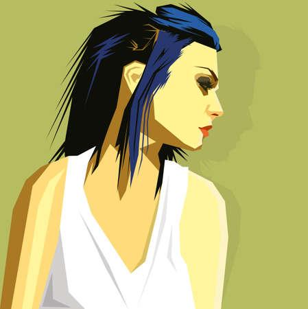 revolt: blue hair goth Illustration