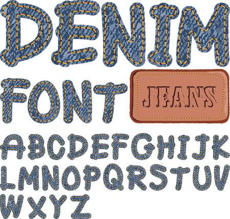 denim jeans: fuente de mezclilla Vectores