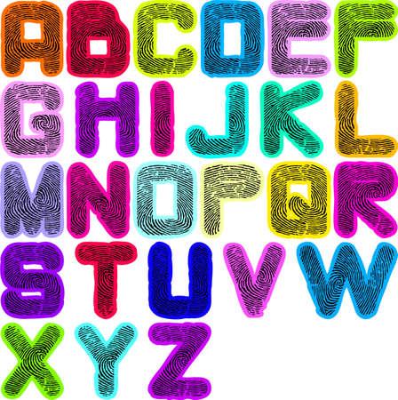 vieze handen: vingerafdruk alfabet