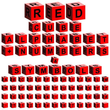 red cube: alfabeto cubo rosso + numeri