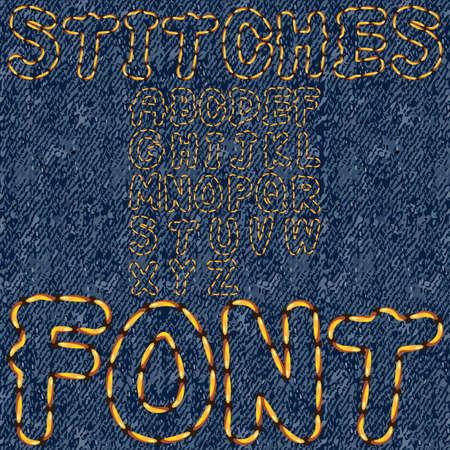 stitches font denim Vector