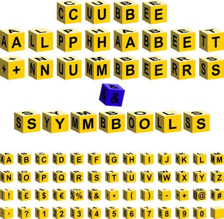 żółty alfabet kostka znak + numery Ilustracje wektorowe