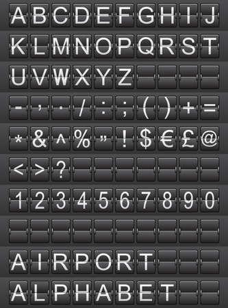 flight board: airport alphabet Stock Photo