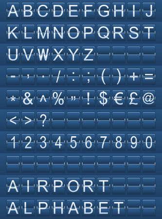 mechanical panel: airport alphabet blue