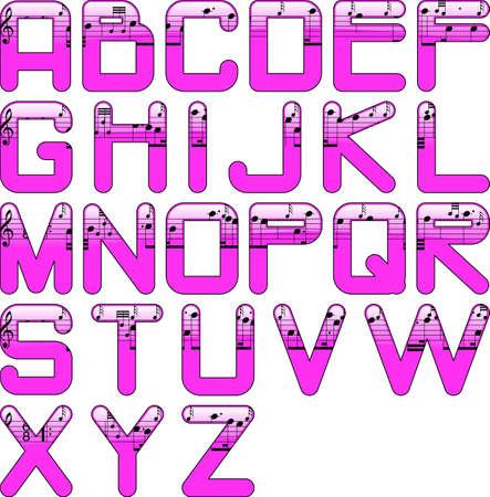 quavers: alphabet music glossy pink Stock Photo