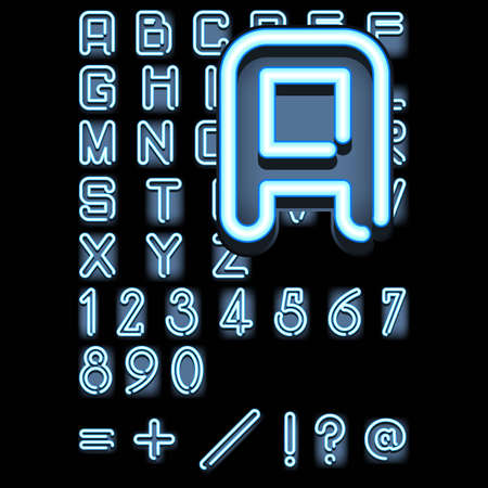 blue neon alphabet  photo