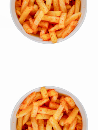 spicy french fries for food isolated white background