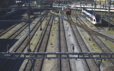 Railway tracks leading to the station