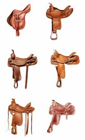Illustration of six horse saddles illustration